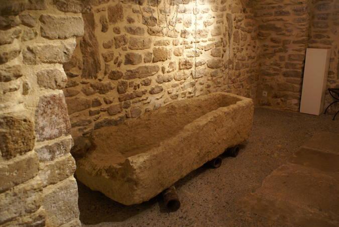 Visuel 1/1 : Sarcophage  et entrelacs mérovingien  - Maison commune