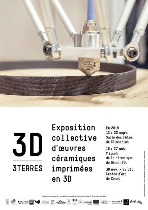 Visuel 1/1 : 3D / 3 Terres, exposition collective d'oeuvres céramiques imprimées en 3D